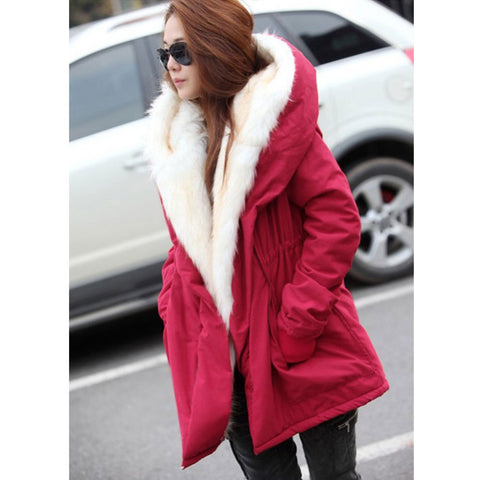 2016 New Winter Wool Jacket Women Coat Warm Casual Girls Outwear Ladies Overcoat Fur Collar Down&Parkas Plus Size 1110 - Selenekiss