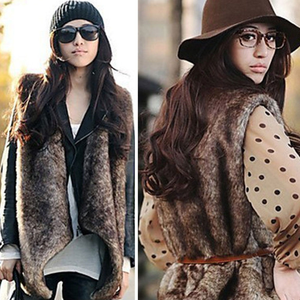 2016 New Women Faux Fur Collar Vest Waistcoat Warm Long Coat Outerwear Casual Sleeveless Gilet H038 - Selenekiss