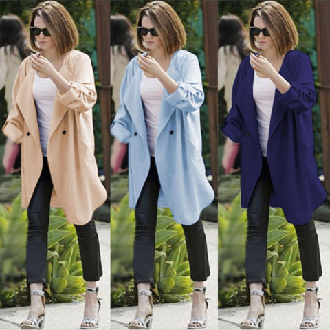2016 New Women Long Trench Coat Roll Up Batwing Sleeve Waterfall Lapel Open Front Suit Fall Autumn Outfit Draped Cardigan W015 - Selenekiss