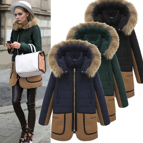 2016 New Women Winter Casual Hooded Fur Collar Slim Warm Long Coat Jacket Down Mixed Colors Tops W057 - Selenekiss