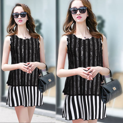 2016 Newest Fashion Women Black Sexy Lace Dresses Summer Sleeveless Casual Striped Printed Dress L907 - Selenekiss