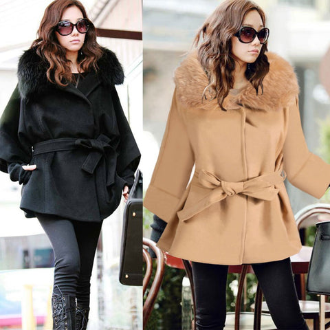 2016 Parkas for Women Warm Hooded Outwear Loose Wool Overcoat Large Faux Fur Collar Winter Jackets and Coats W063 - Selenekiss