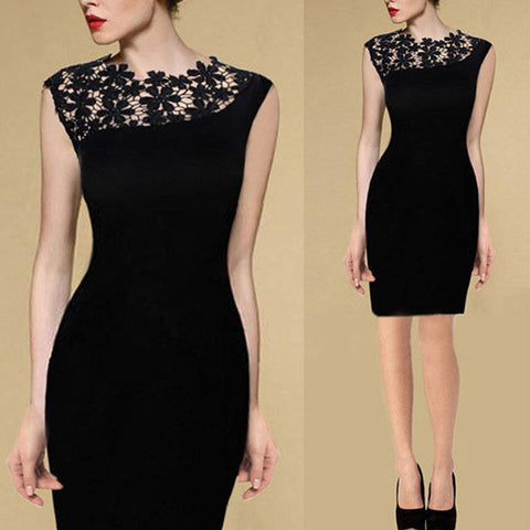 2016 Plus Size Black Summer Women Stretch Crochet Lace Dress Evening Party Bodycon Dresses Casual Slim Pencil Robe Vestidos Q177 - Selenekiss