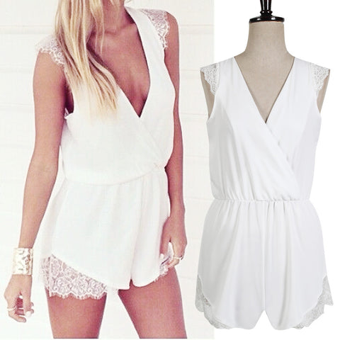 2016 Sexy Summer Women White Lace Jumpsuit Rompers Cute Female Short Overalls Playsuits 4800 - Selenekiss