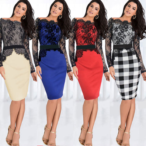 2016 Spring Summer Women Lace Crochet Patchwork Dress Long Sleeve Bodycon Bandage Work OL Office Party Midi Dresses Q169 - Selenekiss
