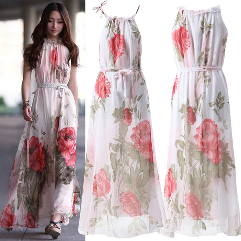 2016 Summer Elegant Women Floral Print Dresses Casual Loose Chiffon Dress Strapless Long Maxi Beach Vestidos Plus Size 3313 - Selenekiss