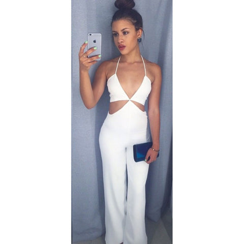 2016 Summer Sexy Jumpsuit Rompers White Spaghetti Strap Playsuits Overalls for Women Long Bodysuit F016 - selenekiss - 1
