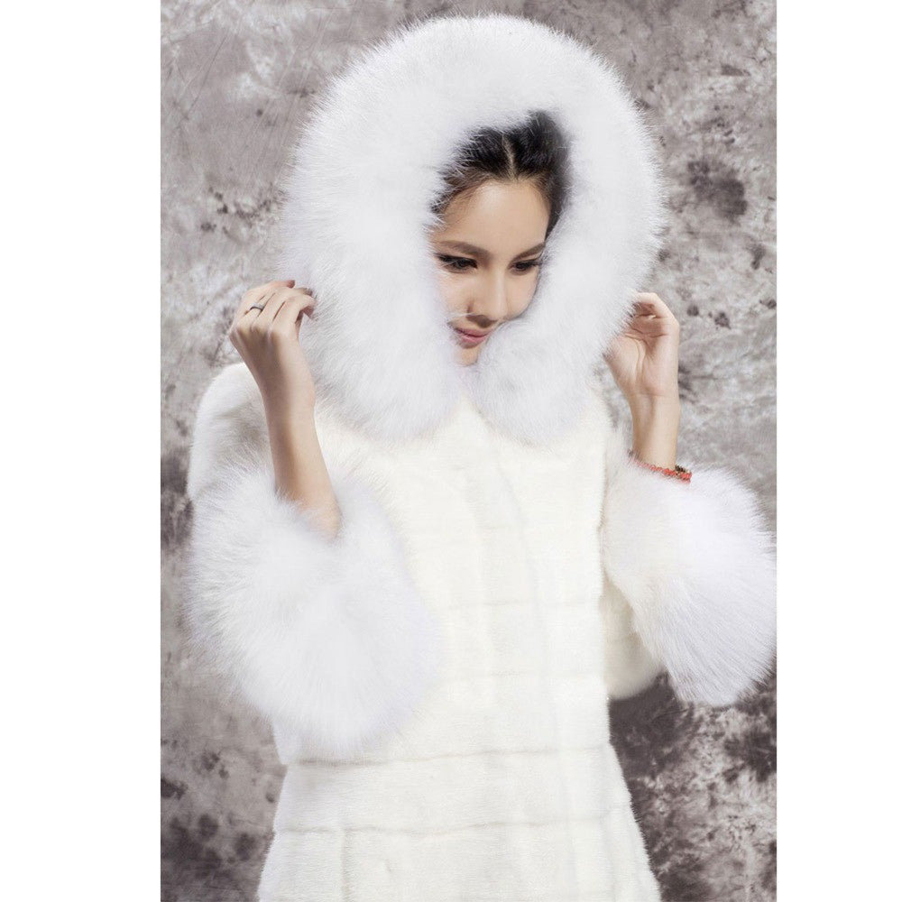 2016 Winter Women White Imitation Mink Fur Coat Ladies Fashion Hooded Thick Fur Collar Warm Long Outerwear Parka H050 - selenekiss - 1