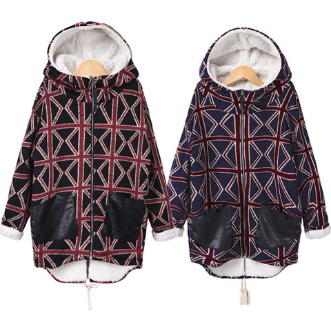 2016 Women New Winter Plaid Printed Cashmere Coat Imitation Lambswool Hooded Padded Jacket Long Parka Overcoat W021 - selenekiss - 1