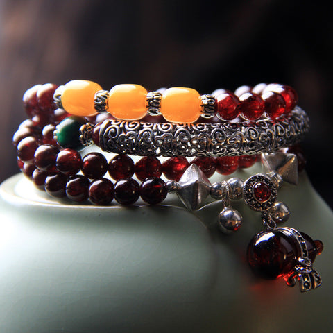 108 national wind hand string 4 lap multi-layer female new Brazilian natural red wine garnet bracelet