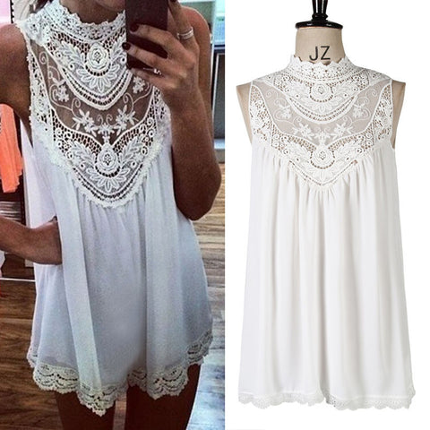 2016 sleeveless vest hollow lace chiffon shirt blouse Europe and America's foreign trade women - Selenekiss