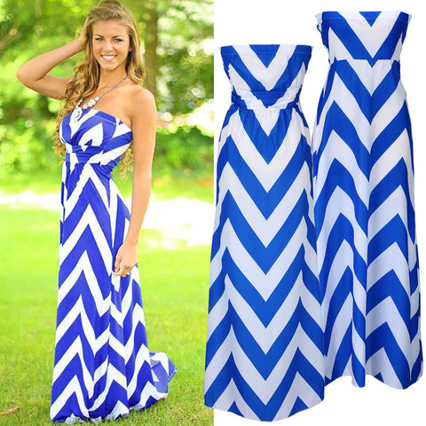 Attractive models chest wrapped chiffon dress Europe station color wavy stripe length skirt - selenekiss - 1