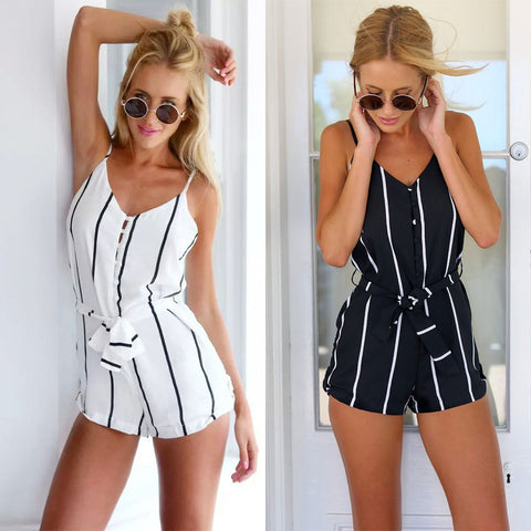 2016 summer new Hot sexy leak back striped suspenders piece pants shorts beach shorts - selenekiss - 1