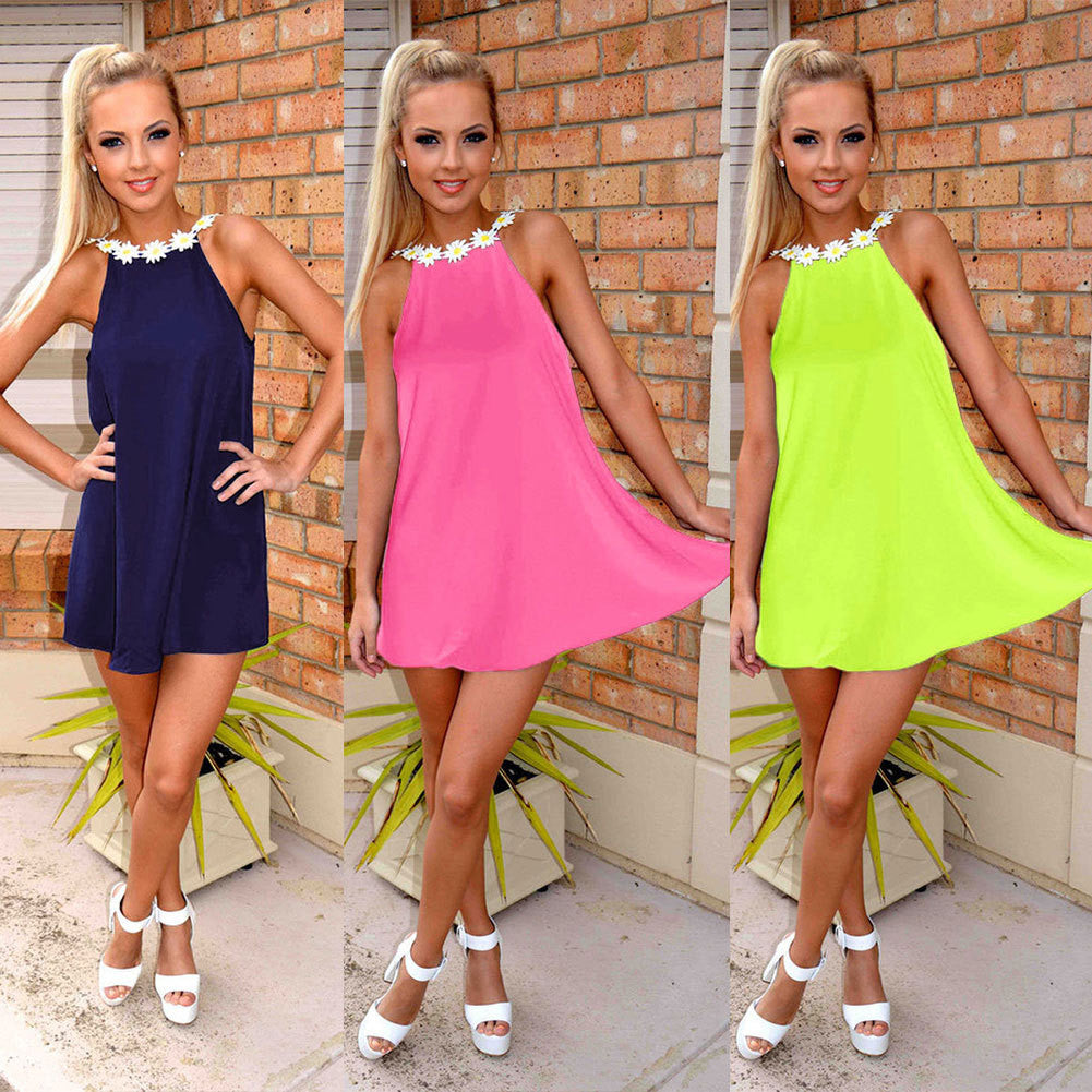 Europe station summer fashion ladies sexy halter strap mini chiffon dress beach dress lace skirt - selenekiss - 1