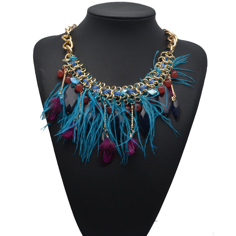 new European and American big new feathers flowing gem bohemian luxury necklace wholesale