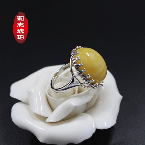 Baltic Sea S925 Silver inlaid beige ring styles can be customized XMJZ0006 - Selenekiss