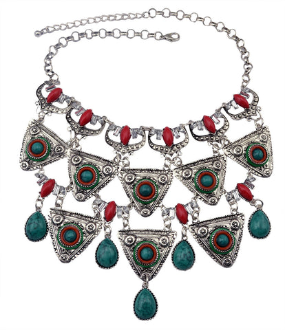 European and American foreign trade original single jewelry luxury exaggerated Bohemian style turquoise multi - layer triangular geometric necklace