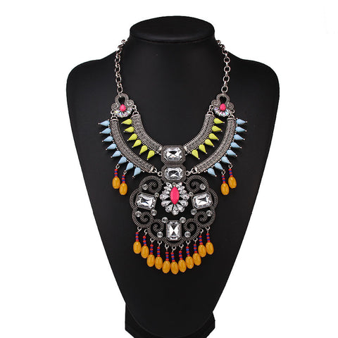 Europe and the United States fashion luxury new beautiful color Bohemian style retro alloy necklace