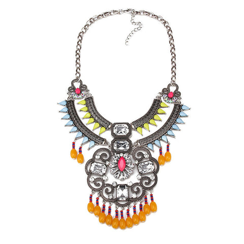 new Europe and the United States exaggerated jewelry accessories Bohemian tassel retro female big necklace