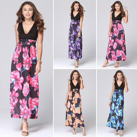 2016 summer new European and American print dress sexy low-cut dress super V - Selenekiss