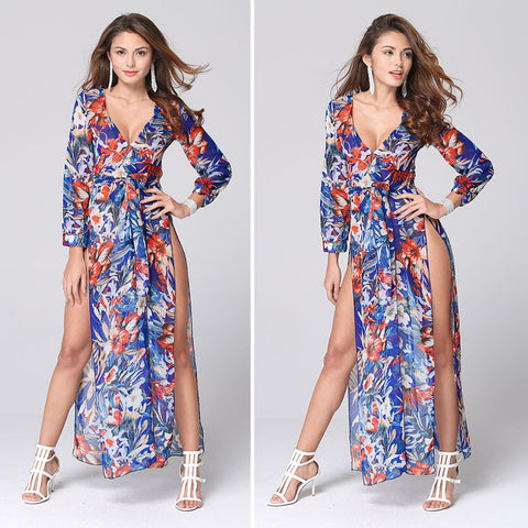 2016 foreign trade explosion models in Europe and America sexy V-neck printed chiffon summer beach dress - Selenekiss
