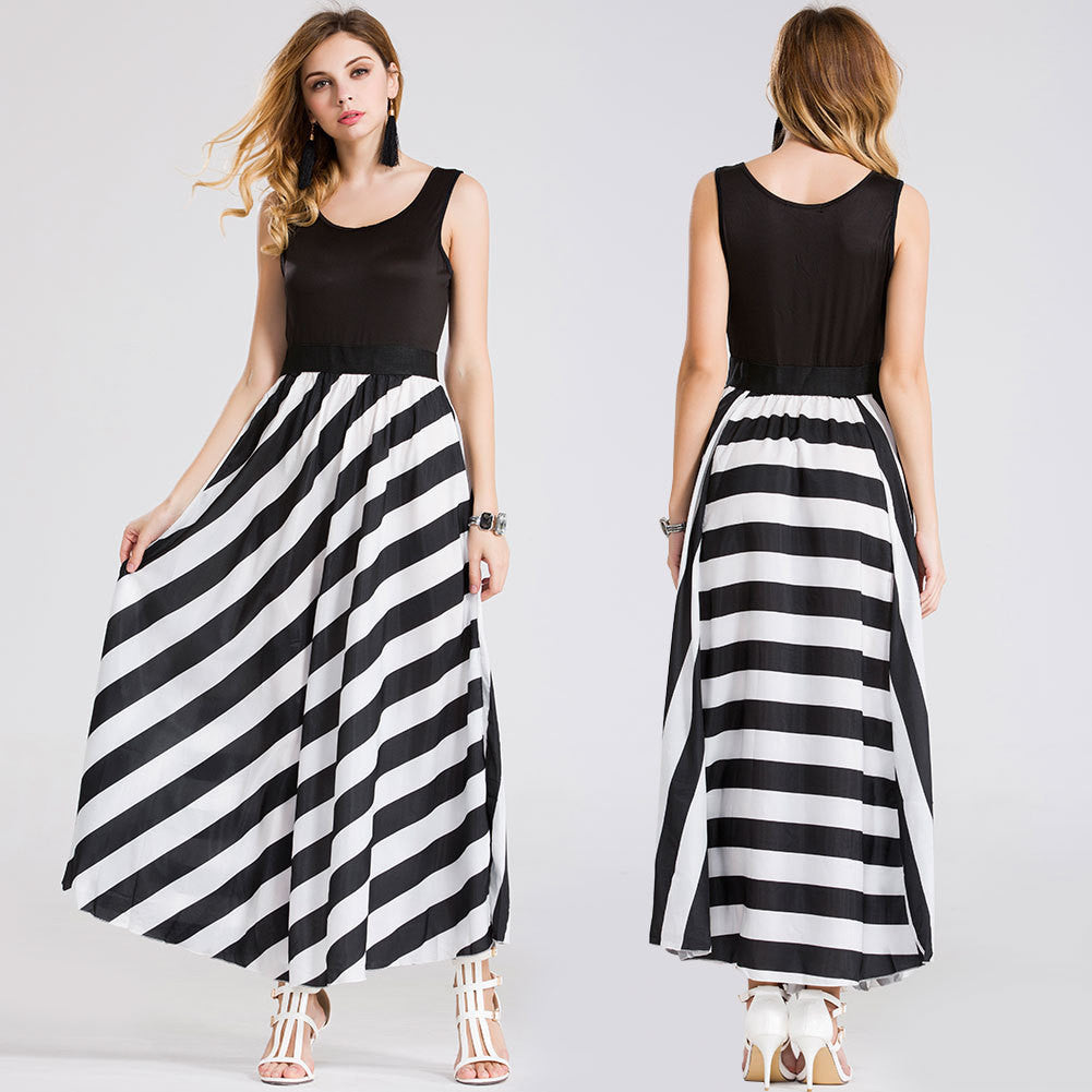 2016 summer new explosion models in Europe and America sexy strapless vest skirt stripe dress - selenekiss - 1