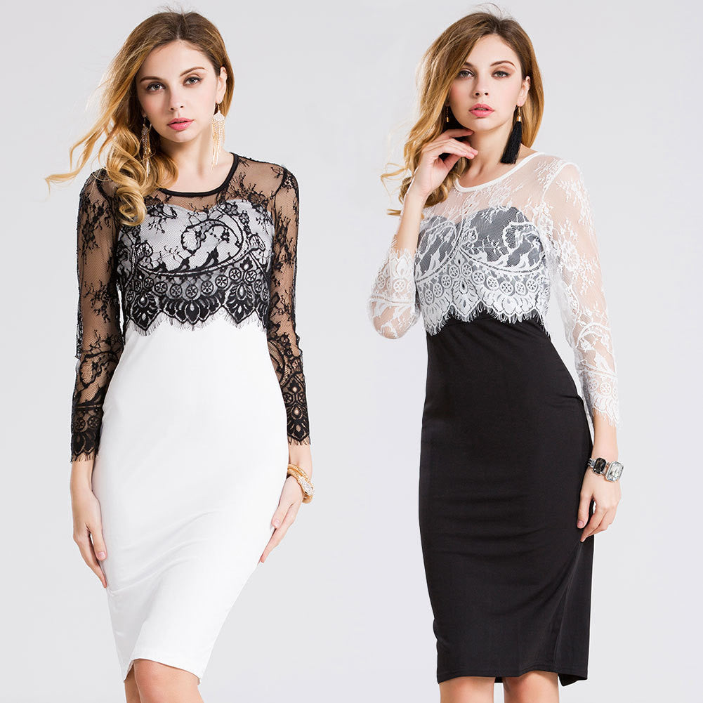 2016 summer new European and American women's sexy lace stitching pencil skirt dress - Selenekiss