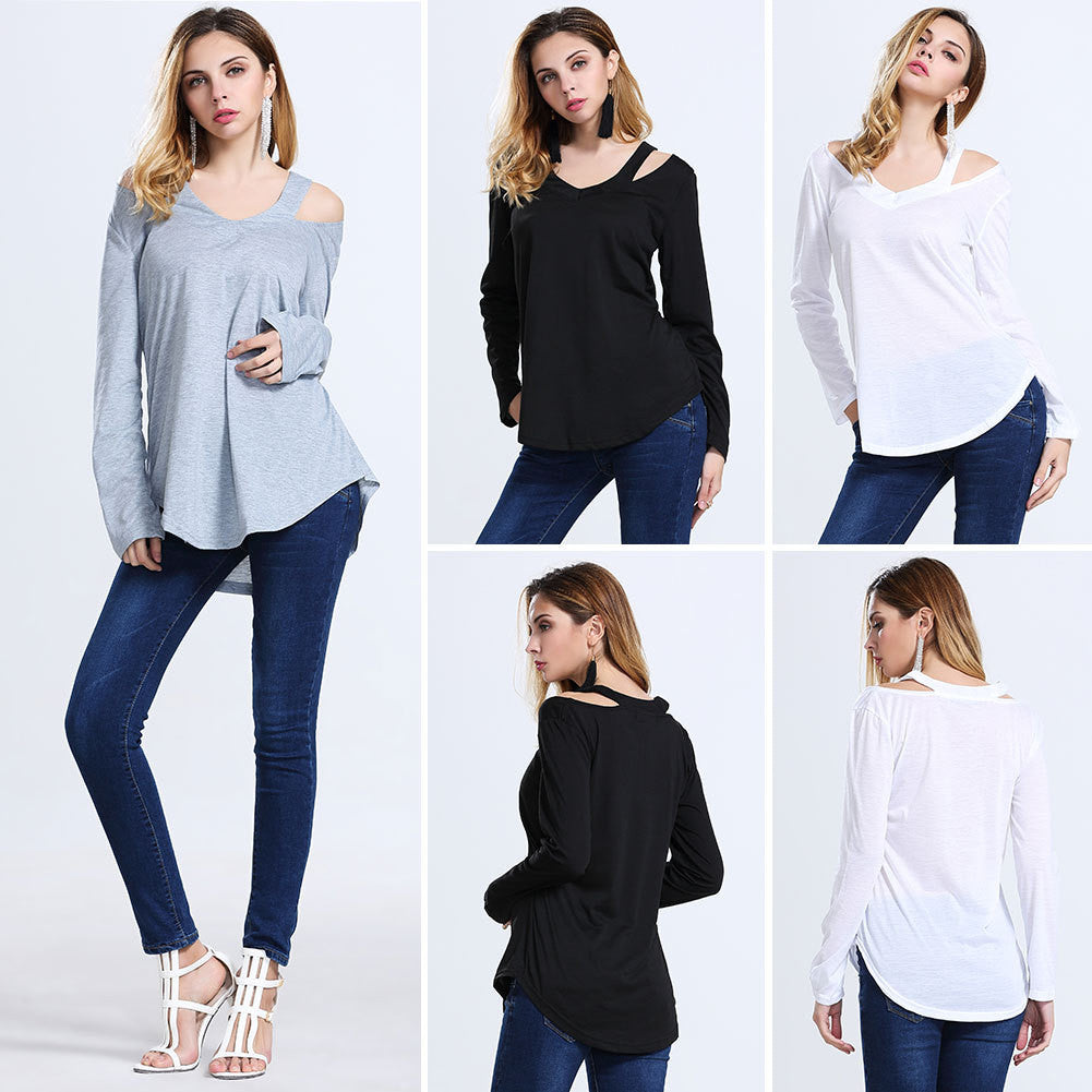 2016 European and American foreign trade women's casual fashion strapless long-sleeved V-neck t-shirt - Selenekiss