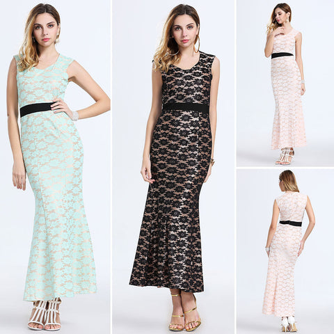 2016 summer new long section of European and American fashion lace dress fishtail skirt dress - selenekiss - 1