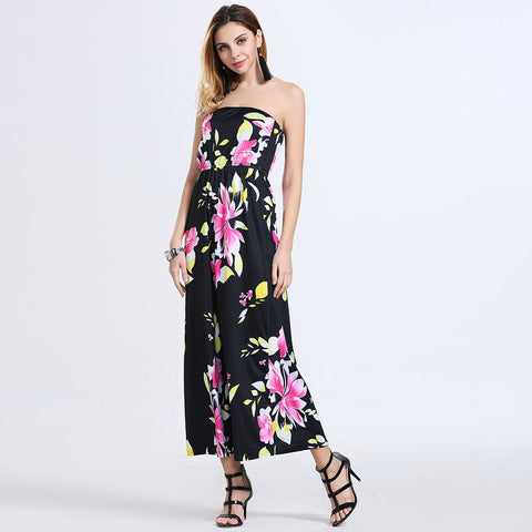 2016 new summer women's fashion print dress chest wrapped sexy dress - Selenekiss
