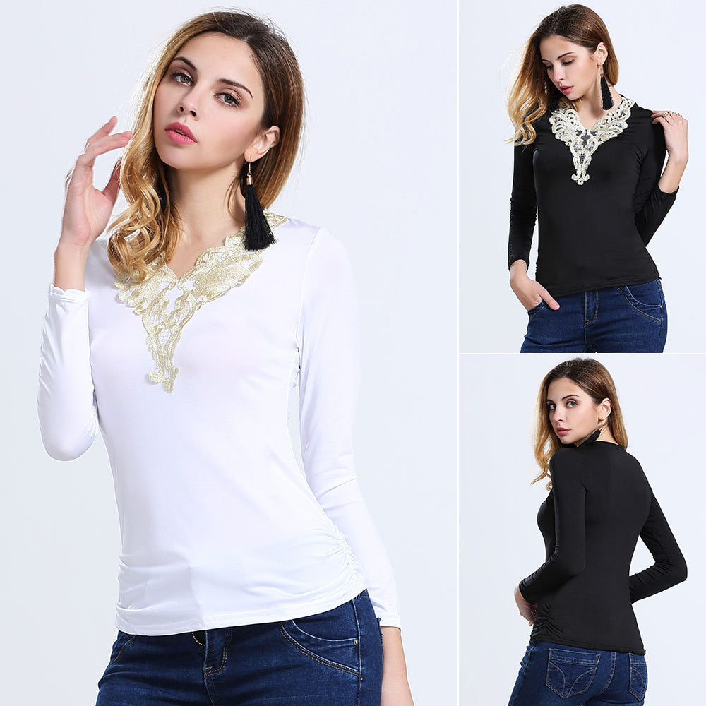 2016 summer in Europe and America of the original single ladies V-neck long-sleeved T-shirt - Selenekiss