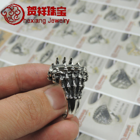 2016 Explosive Sterling Silver Bones Empty Roman Retro Sutered Silver Mosaic Male Ring Live Skeleton Ring Tent - Selenekiss