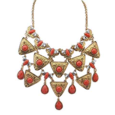 Europe and the United States fashion exaggerated water droplets multi - layer necklace wild triangular geometric multi - layer necklace big jewelry promotions - Selenekiss