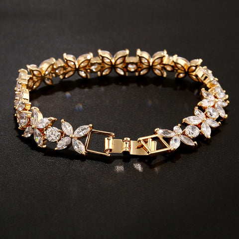 Network Zircon Bracelet Hot Products High - quality zircon embedded in the real gold - plated color manufacturers mixed batch