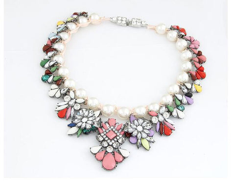 Europe and the United States big summer fashion wild color gemstone preparation rope pearl temperament exaggerated necklace - Selenekiss