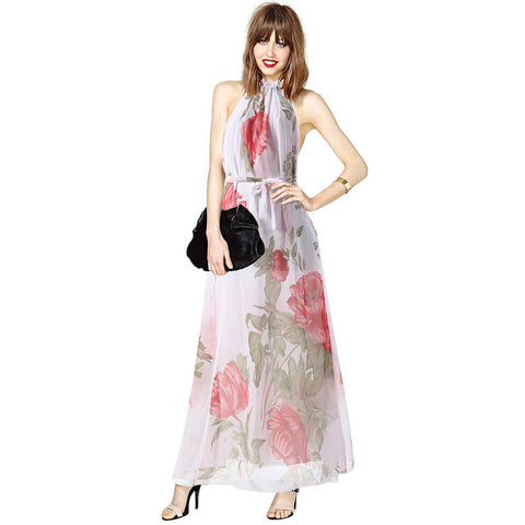 2016 Bohemian Sexy Halter sleeveless dress printed chiffon dress - Selenekiss