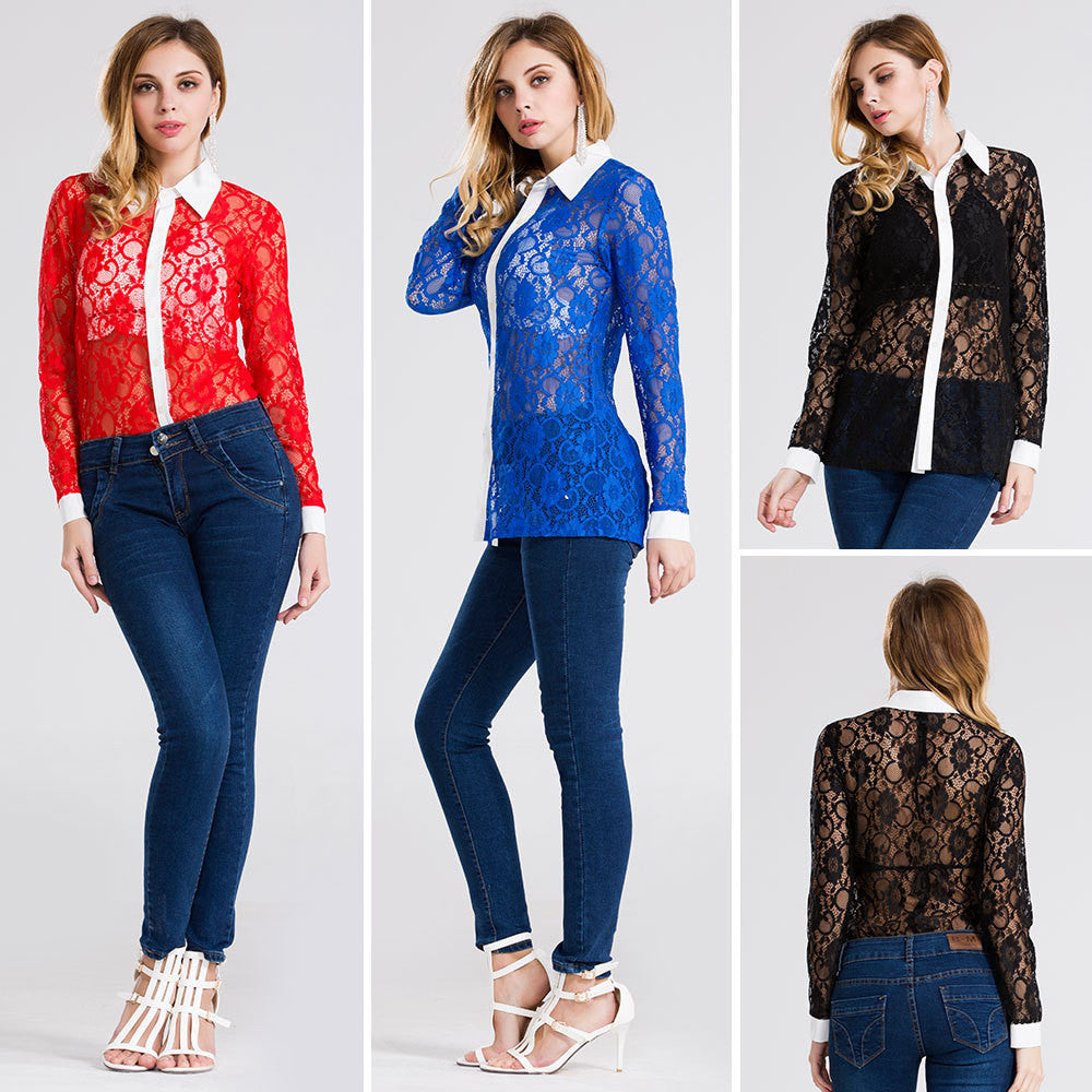 2016 summer new Europe and America sexy lace shirt blouses - Selenekiss