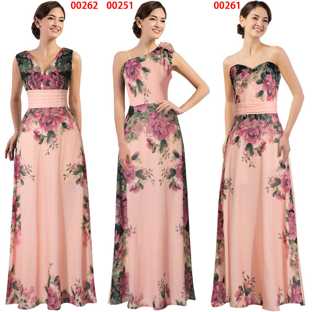 2016 spring and summer new women in Europe and America Slim sexy fashion pink print chiffon dress - Selenekiss