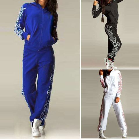 2016 new spring suits large size women's sports leisure suit sportswear color printing - Selenekiss