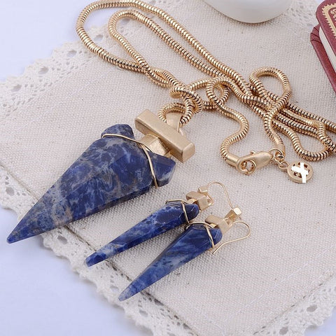 Europe and the United States brand texture natural blue stone necklace sweater necklace - Selenekiss