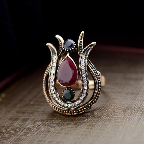 Ellenoco Bohemian style jewelry wholesale fashion retro inlaid precious stones high - end ring 1891337 - Selenekiss