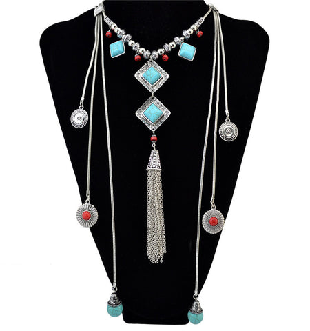 Europe and the United States fashion Bohemian color tassel necklace turquoise accessories pendants necklace wholesale direct