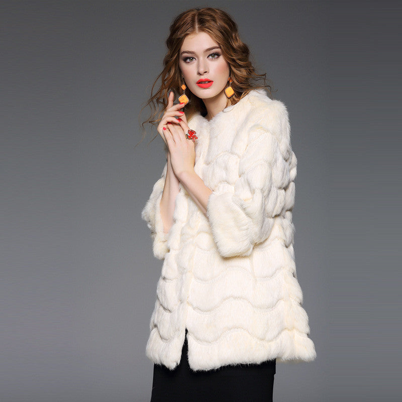 Three Quarter Sleeve Rabbit fur clothing for Elegant Woman