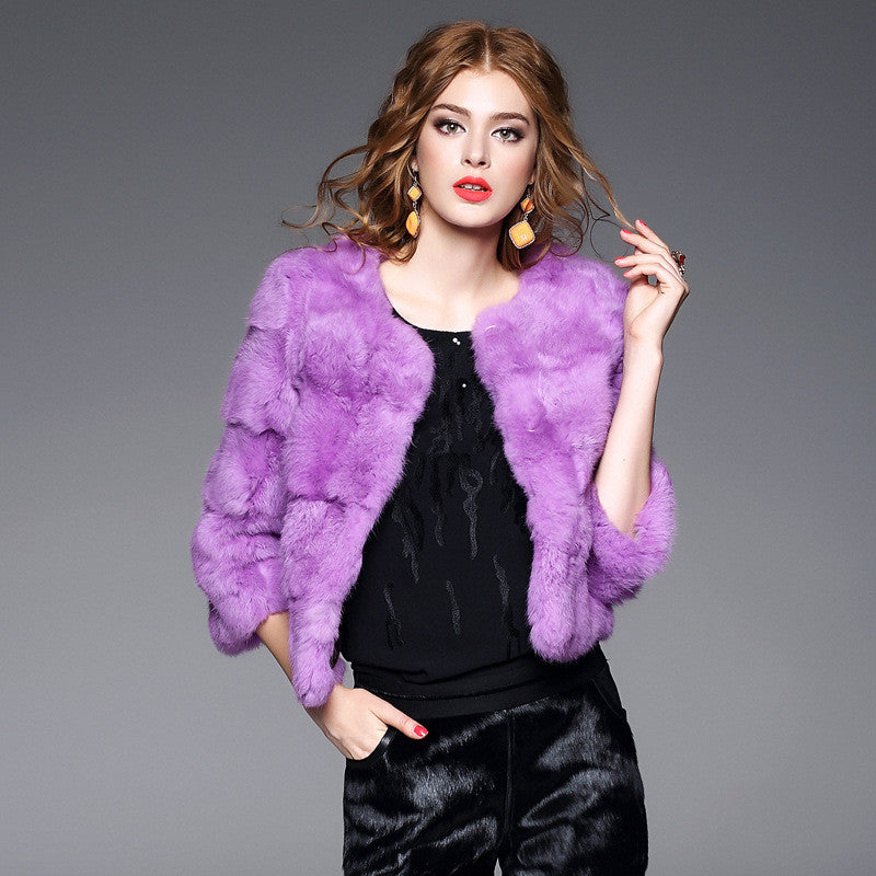 Fashion Three Quarter Sleeve Female Angora Fur Coat