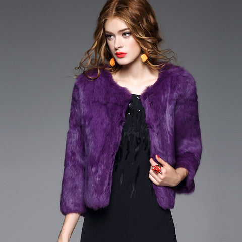 clothing fashion fur coat  cony hair Rabbit's hair short section shape Three Quarter Sleeve Loose coat