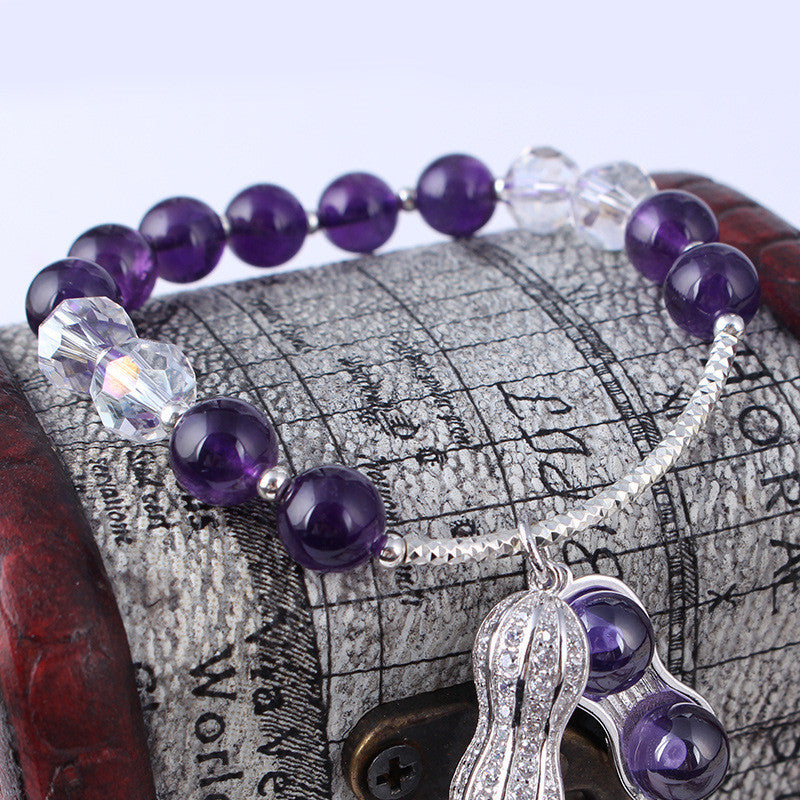 Natural Uruguay Amethyst Monochrome Bracelet Female 925 Sterling Silver Amethyst Jewelry Handle