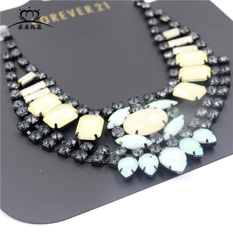 Europe and the United States fashion necklace exaggerated dinner necklace women's colorful diamond long-term high-grade jewelry accessories - Selenekiss