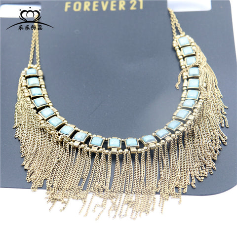 Bohemian wind necklace fringed necklace retro fashion clothing chain clothing accessories Korean jewelry factory direct - Selenekiss