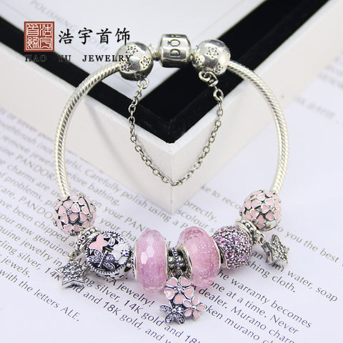 Europe and the United States Panjiadora jewelry finished bracelet S925 sterling silver DIY personalized string decorated PANDURA powder bracelet - Selenekiss