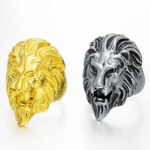Europe and the United States domineering lion head casting titanium steel ring personality retro stainless steel ring men's jewelry QJ038 - Selenekiss